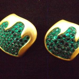 Vintage Don Lin Gold Emerald Green Earrings